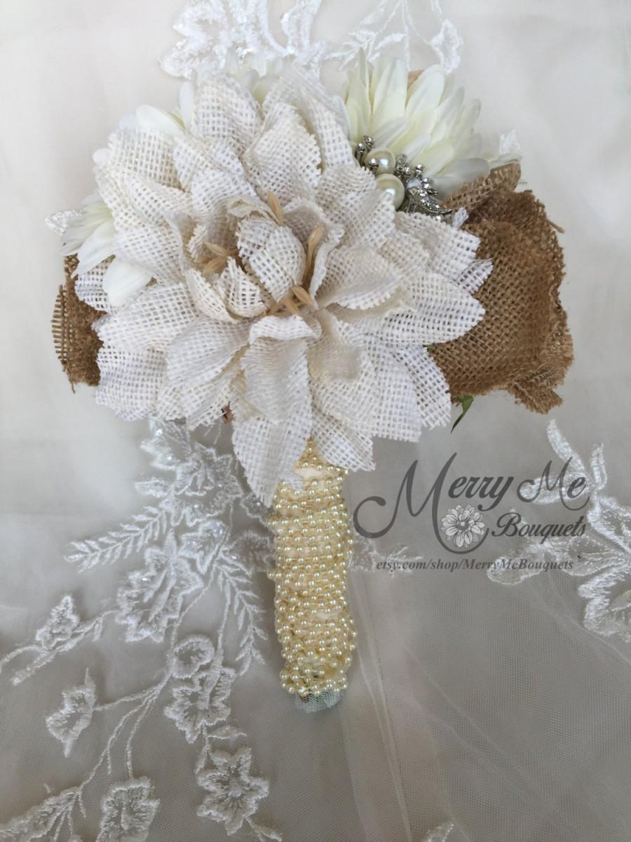 Свадьба - Burlap Bridal Bouquet - Rustic Burlap Bouquet - Burlap Bouquet - Bridesmaids Bouquet - Shabby Chic Burlap Bouquet - Rustic Bouquet