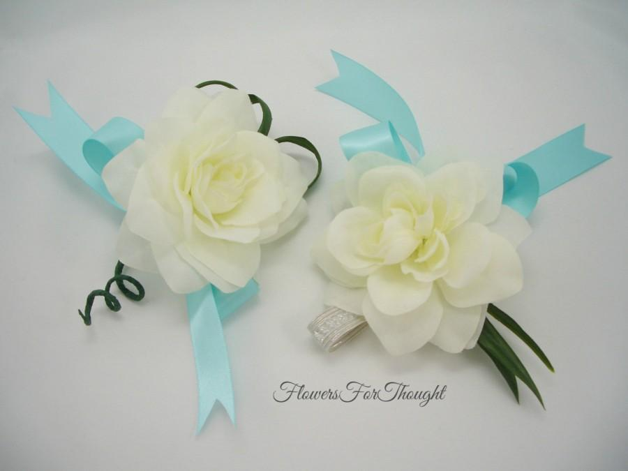 Mariage - Gardenia Wrist or Pin Corsages, Wedding Flowers, Bridal Party Gift