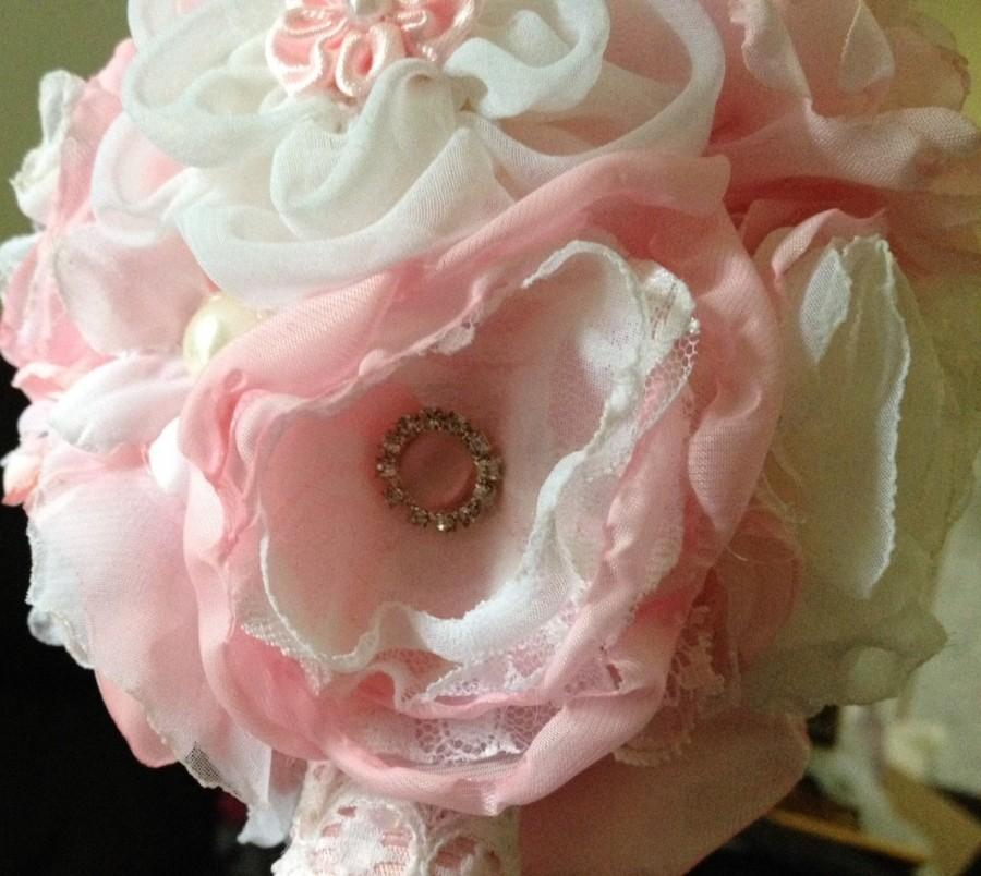 Свадьба - Fabric Bouquet Flower Girl Junior Bridesmaid Pink White Lace Brooch Pearls Hand Made silk