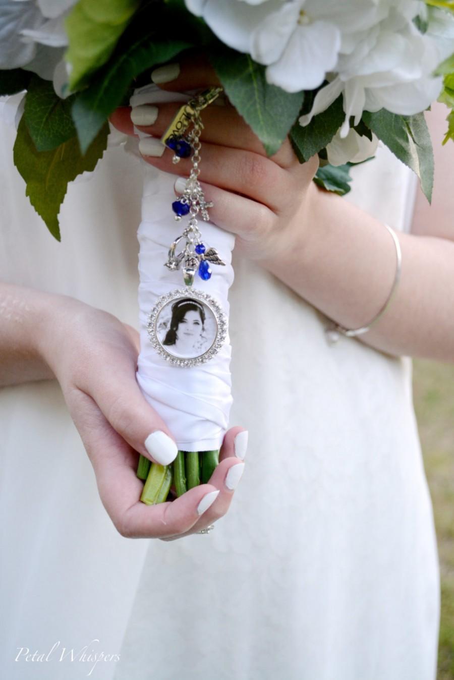 Свадьба - Something Blue Bouquet Charm, Wedding Memorial Charm, Bridal Bouquet Charm, Gift For Brides, Bridal Accessories, Wedding Bouquet Charm