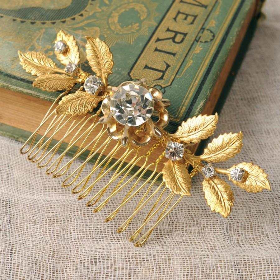 Mariage - Gold Wedding Comb, Leaf Head Piece, Rhinestone Hair Comb, Bridal Hair Piece, Leaf Comb, Hair Jewelry, Rustic Headpiece, Branch, Woodland