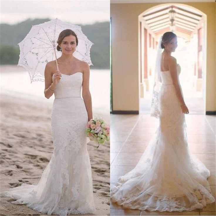 Mariage - Sleeveless Mermaid Sweetheart Lace Simple Beach Summer Charming Wedding Dresses, WD0161