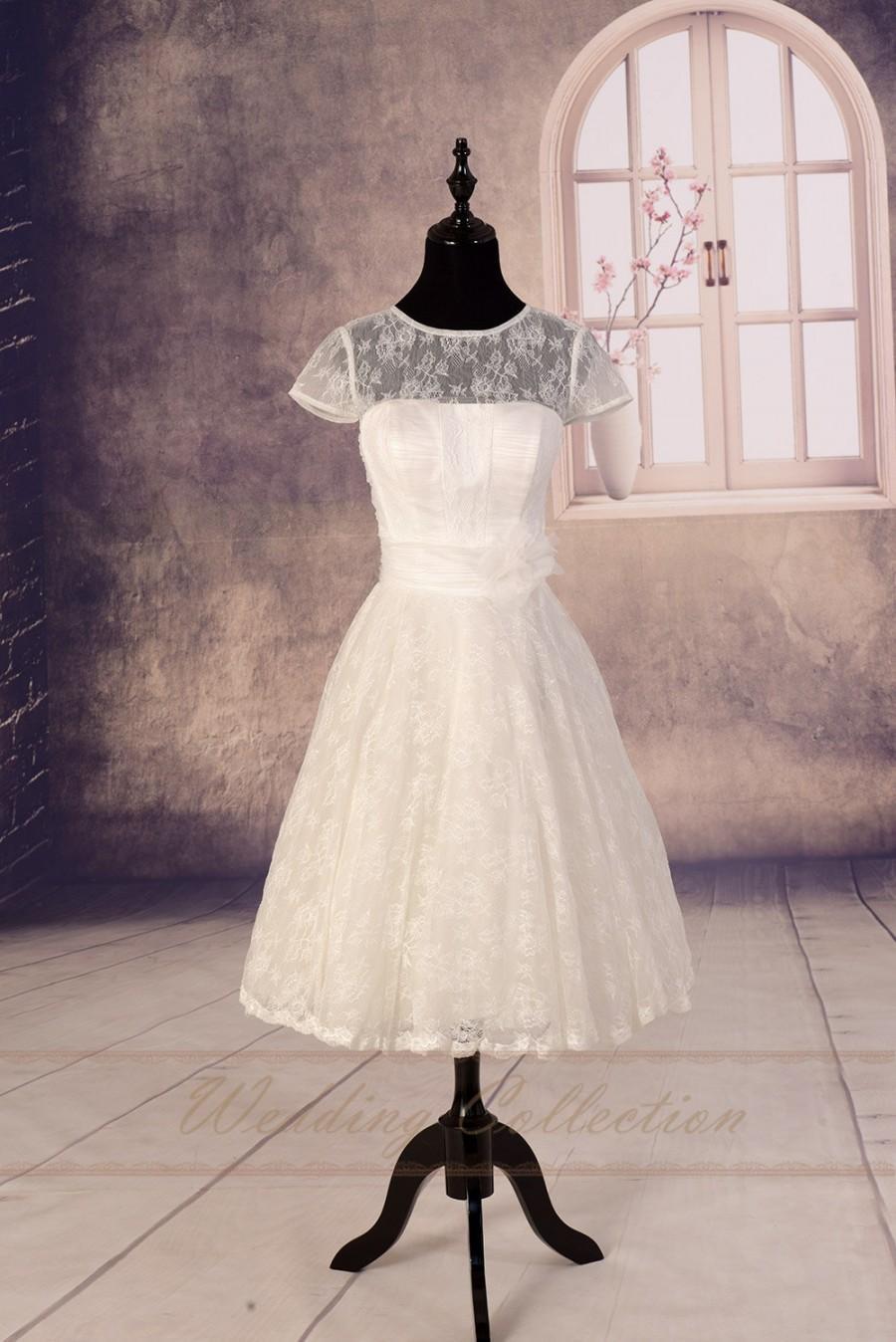 Wedding - Sheer Lace Wedding Dress,Tea Length Wedding Dress, Garden Bridal Dress, Destination Wedding Gown