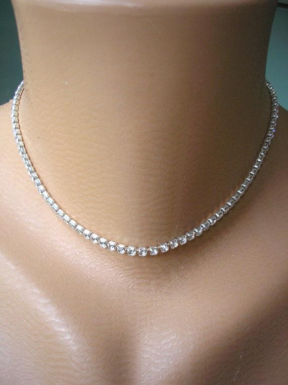Single Strand Rhinestone Choker, Diamante Necklace, Great Gatsby, Sparkly Necklace, Minimalist ...
