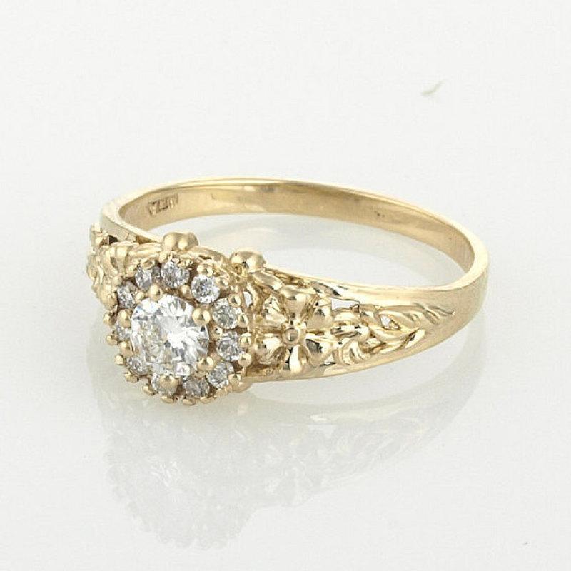 Mariage - Halo Diamond Ring, Engagement Ring, Unique Diamond Ring, Art Nouveau Engagement Ring, 14K Solid Gold Ring, Diamond Engagement Ring, Gift