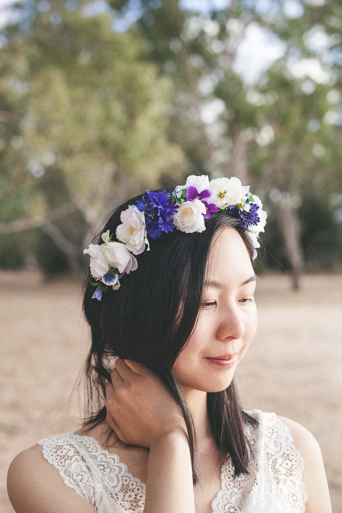 Blue And White Flower Crown,floral Crown,flower Girl Crown,hair ...