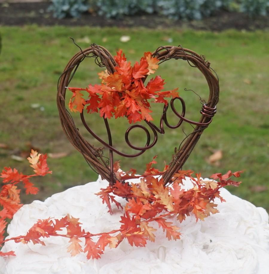 Mariage - Fall Love Wedding Cake Topper With Optional Leaves Detail