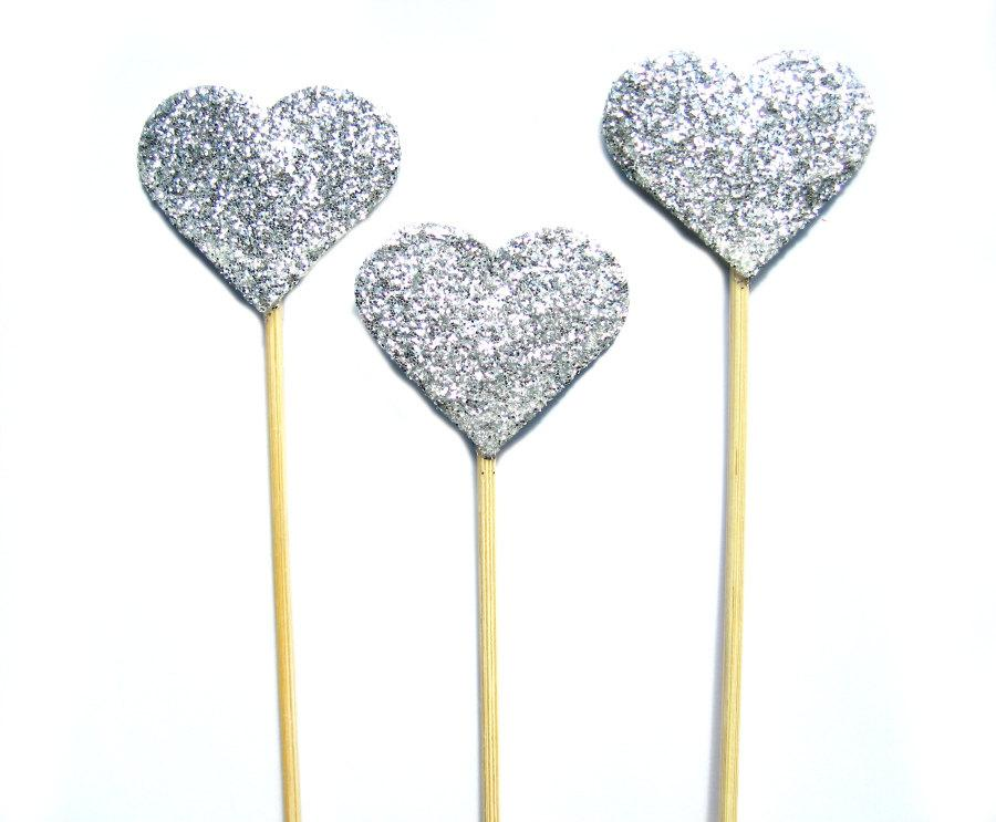Mariage - Big Silver Glitter Heart Cake Topper - Set of 3 - wedding, engagement, birthday, baby shower, tea party