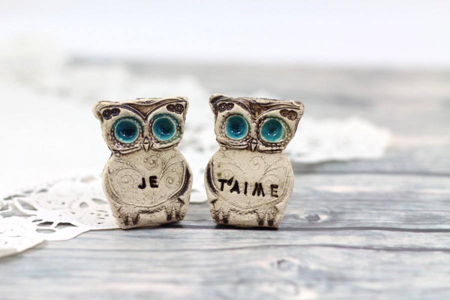 Mariage - Owls Wedding cake topper - Je t'aime Cute cake topper