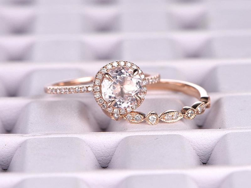 Mariage - 2 Morganite Bridal Set,Engagement ring Rose gold,Diamond wedding band,14k,7mm Round Cut,Gemstone Promise Ring,Claw Prongs,Pave Set,Art Deco