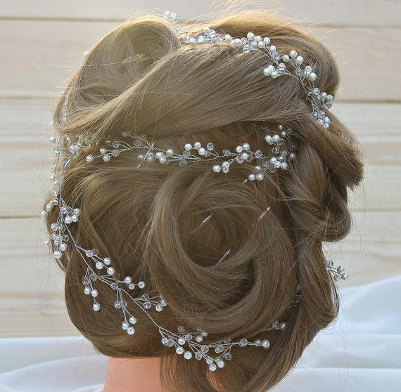 Mariage - Extra Long Bridal Hair Vine Crystal long Vine Crystal wreath Pearl Hair Vine