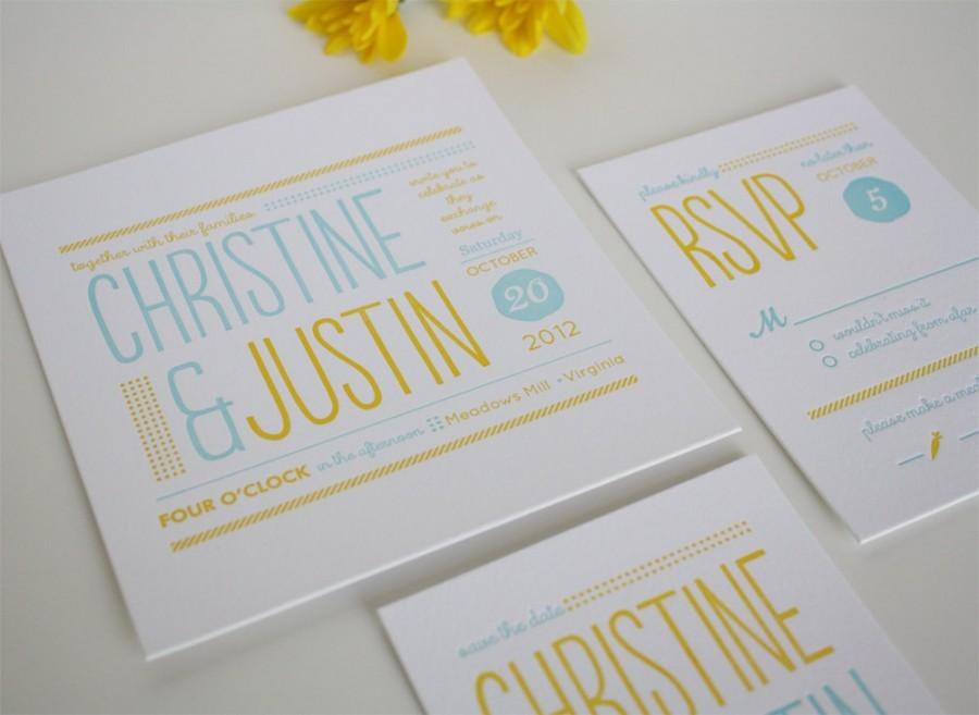 Wedding - Modern Wedding Invitation - Unique Letterpress Invitation - Christine SAMPLE