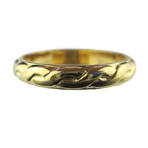 Wedding - Retro Uncas 14k HGE Yellow Gold Interlocking Rope Eternity Thin Wedding Band Ring Size 6