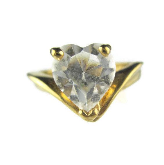 زفاف - Vintage CZ Heart Chevron 18k HGE Sweetheart Promise Ring Size 8