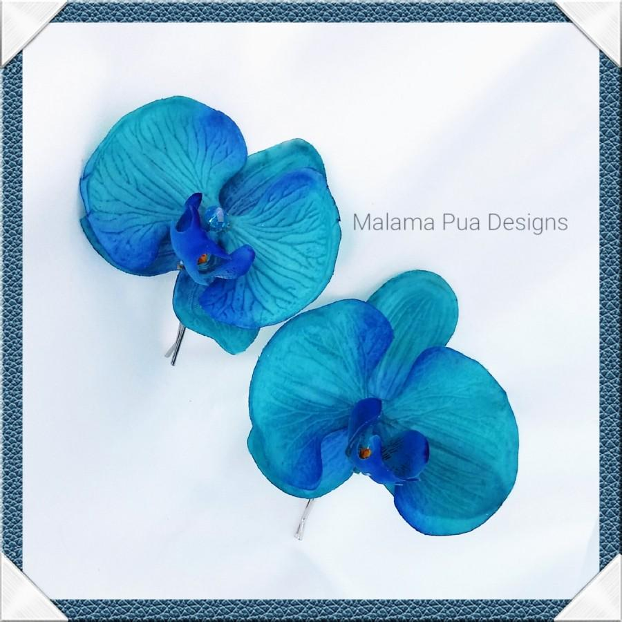 Свадьба - TURQUOISE ORCHID HAIR pin, Real touch, Silk Orchids, Bridal Hair flower, Swarovski crystals, Hawaiian, Beach Wedding, Hair Flower, hair clip