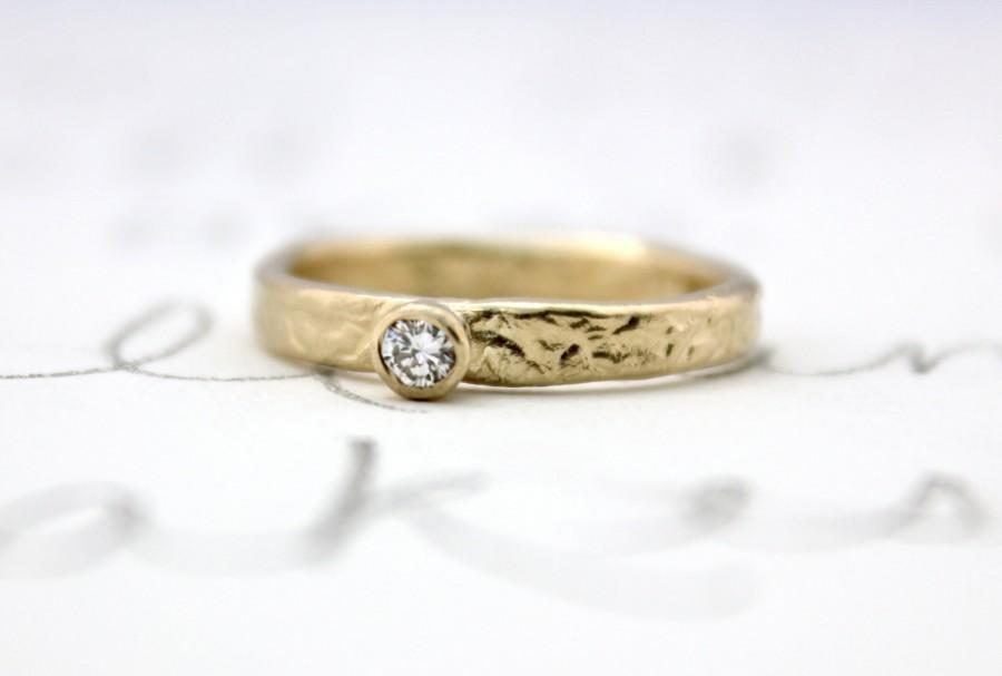 Wedding - SALE ethical diamond engagement ring . handmade 14k yellow gold and conflict free diamond unique engagement ring . ready to ship size 6 1/2