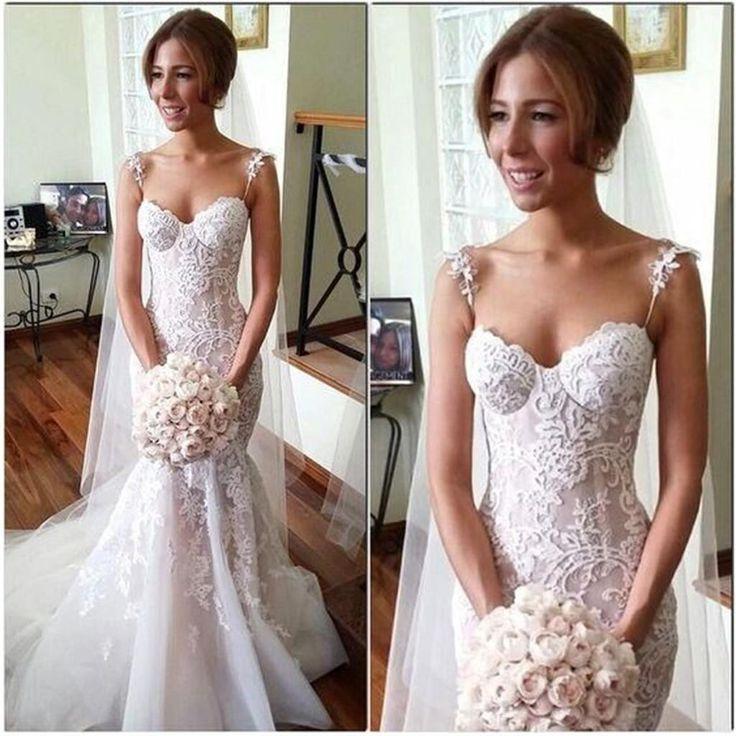 Boda - Long Applique Sleeveless Mermaid Spaghetti-Strap Tulle Pretty Custom Wedding Dresses, WD0196