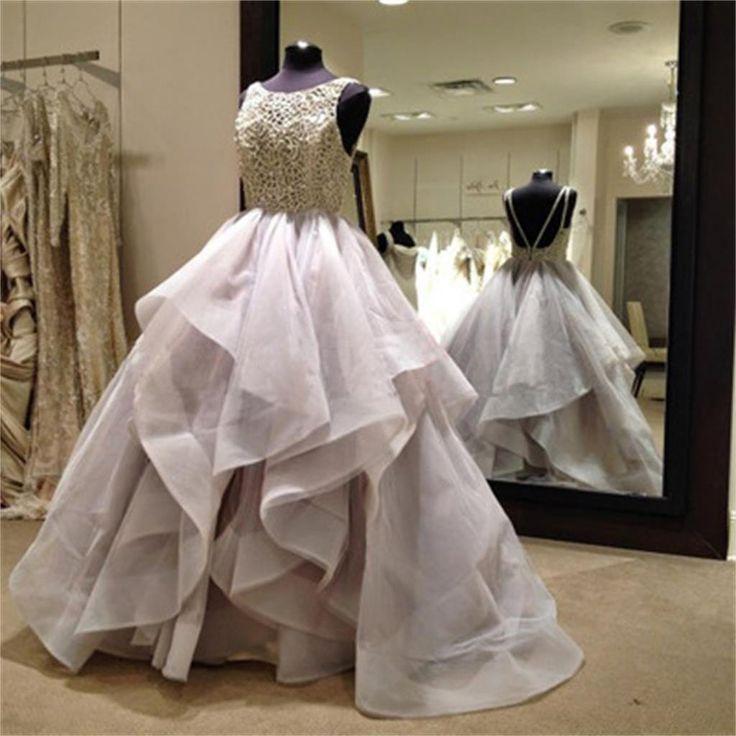 Свадьба - Long Fluffy Prom Dresses, Organza Wedding Dress, Backless Prom Dresses, Ball Gown, WD0125