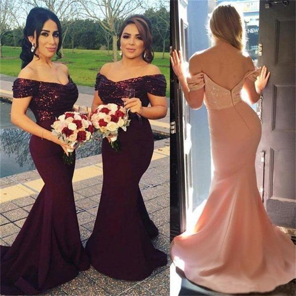 زفاف - Burgundy Off Shoulder Sequin Most Popular New Arrival Cheap Long Bridesmaid Dresses , PD0245