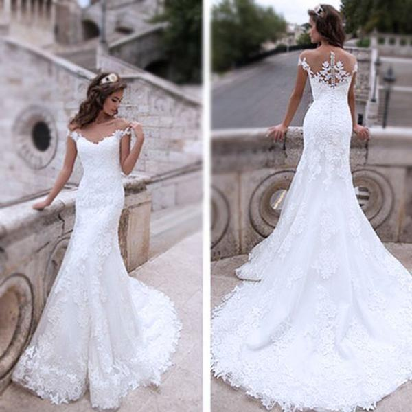 Свадьба - Charming Off Shoulder Sexy Mermaid White Lace Bridal Gown, Wedding Dresses, WD0058