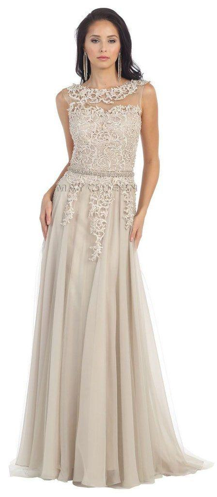 Mariage - Long Mother Of The Bride Dresses Sleeveless Lace Pleated Chiffon Prom Dress