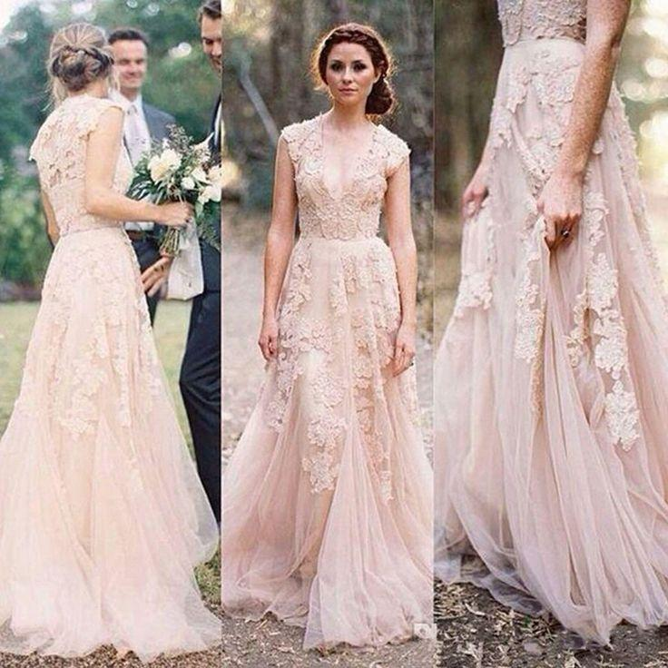 Mariage - Charming Pink Lace Sexy V-neck Long Sheath Tulle Wedding Party Dresses, WD0139