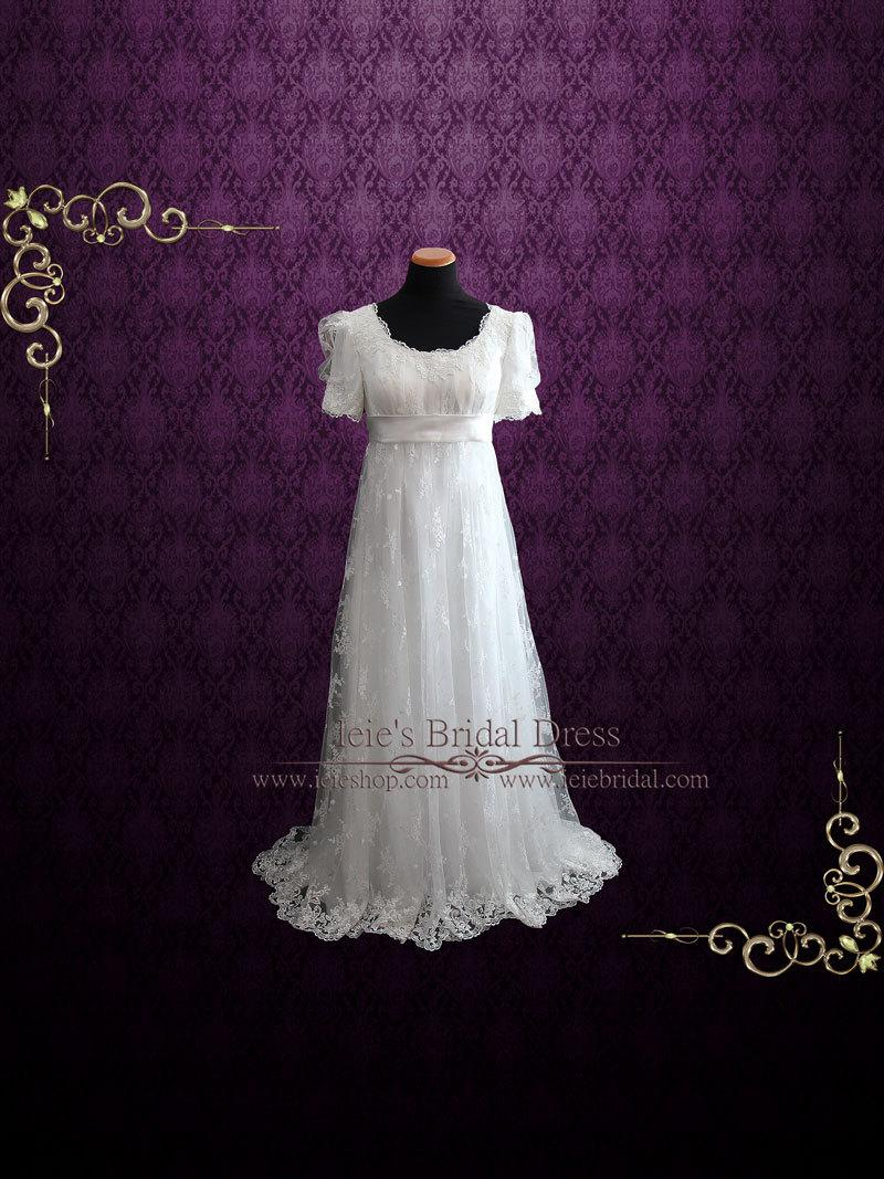 Mariage - Regency Style Lace Wedding Dress with Empire Waist, Vintage Style Wedding Dress, Retro Wedding Dress, Prom Dress, Formal Dress