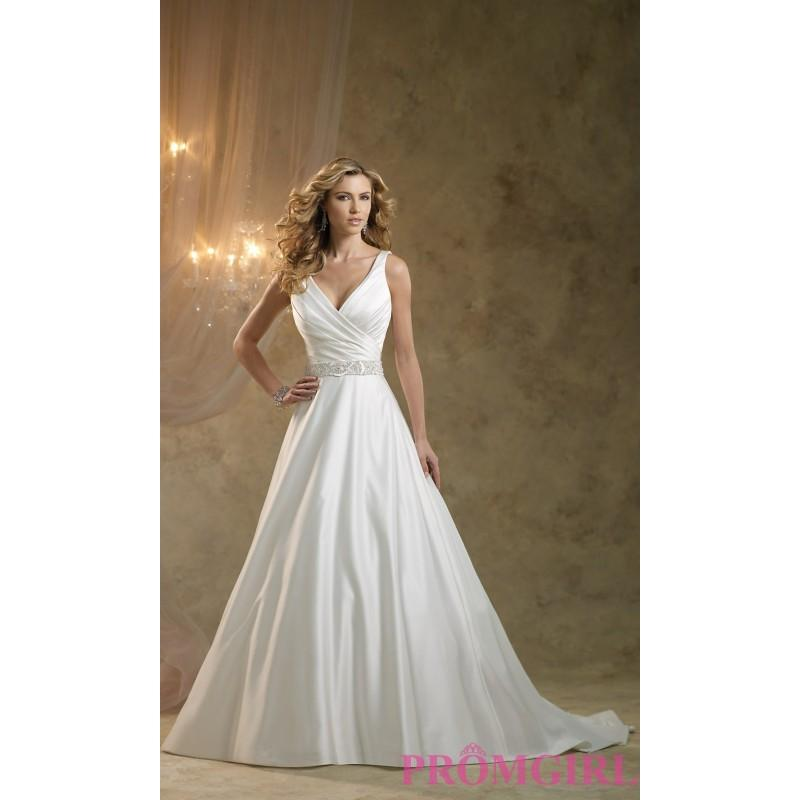 Wedding - V-neck Satin Gown by Kathy Ireland - Brand Prom Dresses