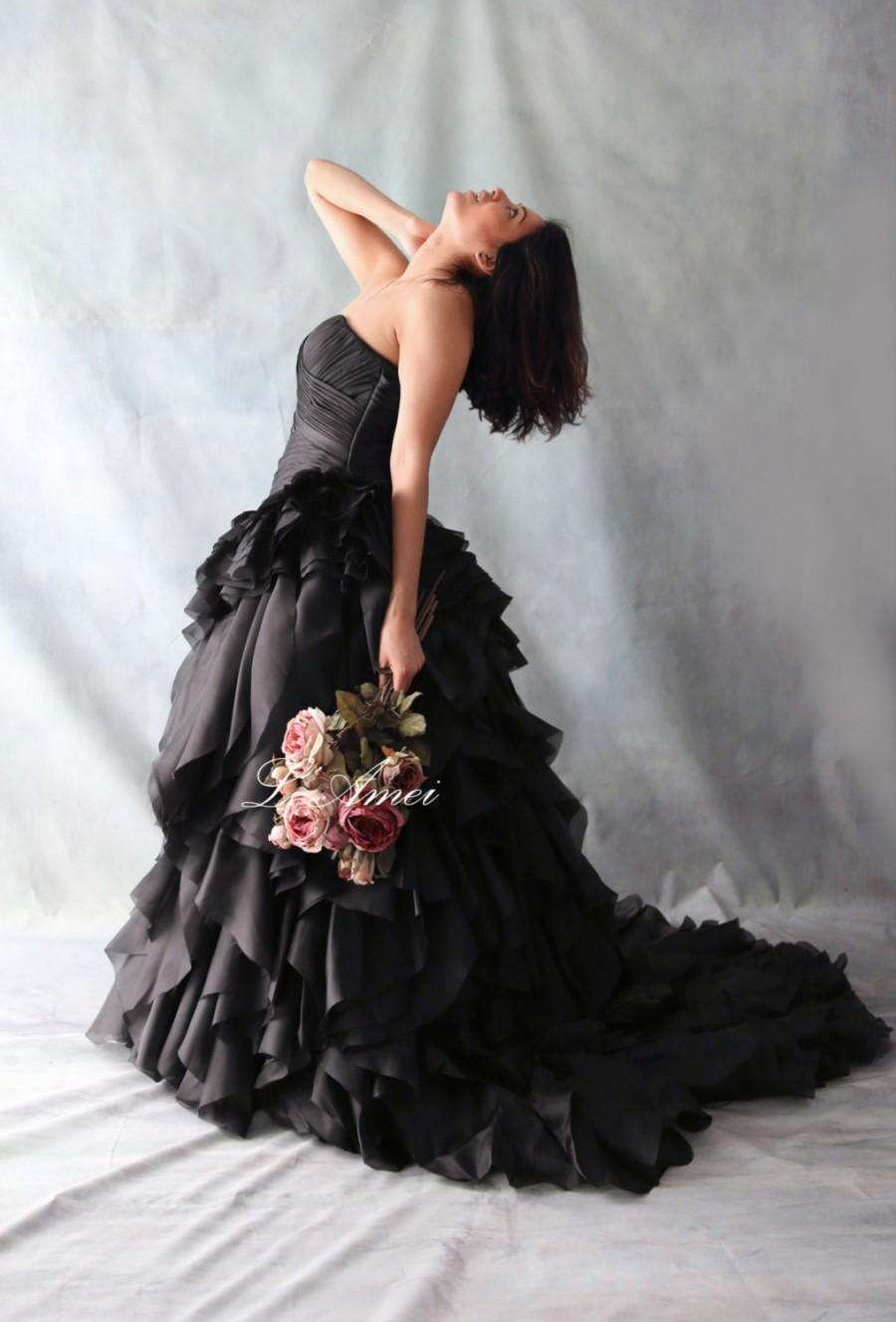 Свадьба - Black Gothic Style black Wedding Bridal Dress Ball Gown , organza flower ballgown  - YS19110078
