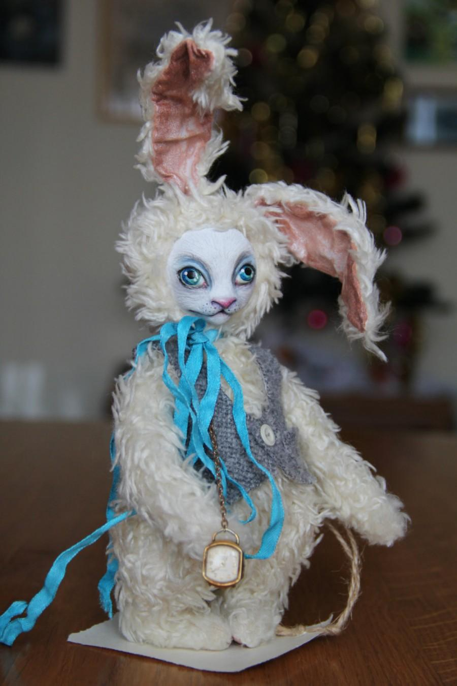 "Свадьба - Art toy Teddy Doll  ""White Rabbit"" tales of Alice in Wonderland Carroll Lyus.Height 7,486 inches (19 cm)"