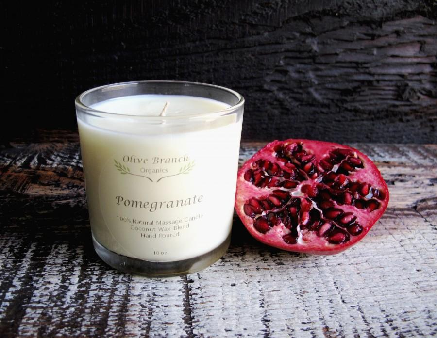 Hochzeit - POMEGRANATE Candle Organic Coconut Wax Candle Essential Oils All Natural 10 oz.