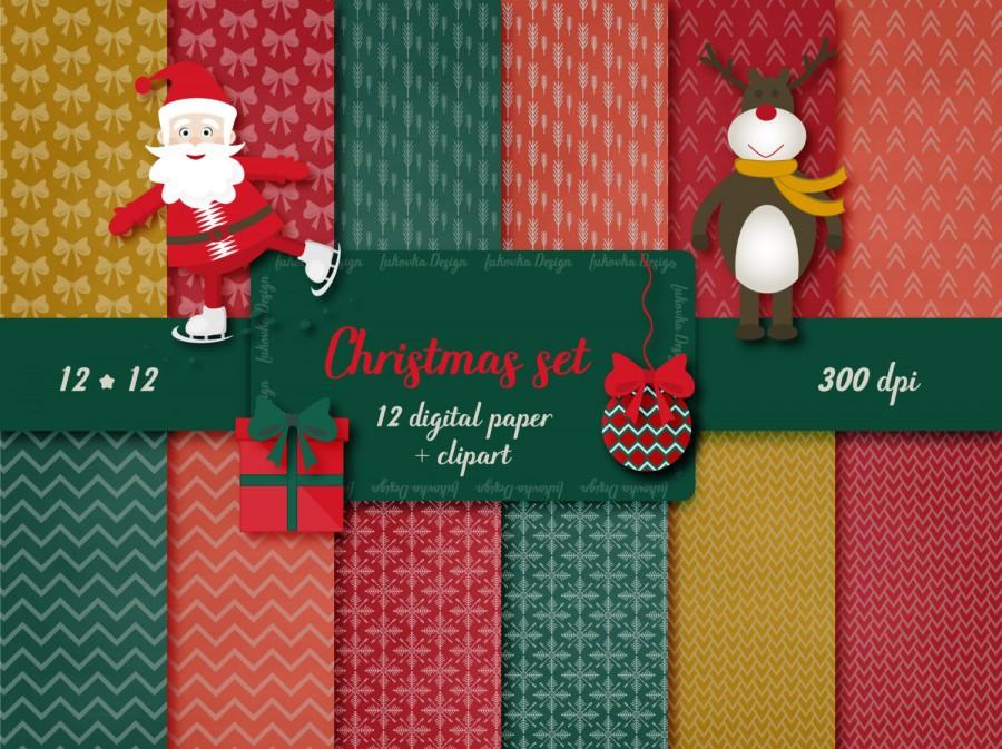 christmas digital paper christmas clipart santa reindeer holiday clip art christmas balls christmas paper pack christmas scrapbook paper - Christmas Digital Decorations