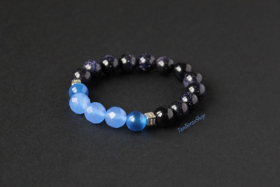 Wedding - Stretch blue bracelet Aventurine chalcedony bracelet Blue cat eye bracelet Aventurine blue bracelet Chalcedony blue bracelet Mala bracelet