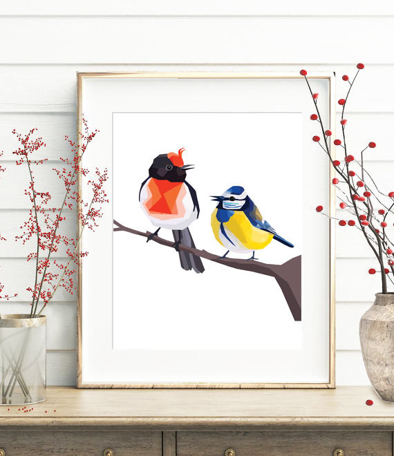 Wedding - Tomtit, Robin bird, Birds print, Bird wall art, Geometric print, Bird illustration, New Zealand bird, Orange robin, Polygon art, Low poly