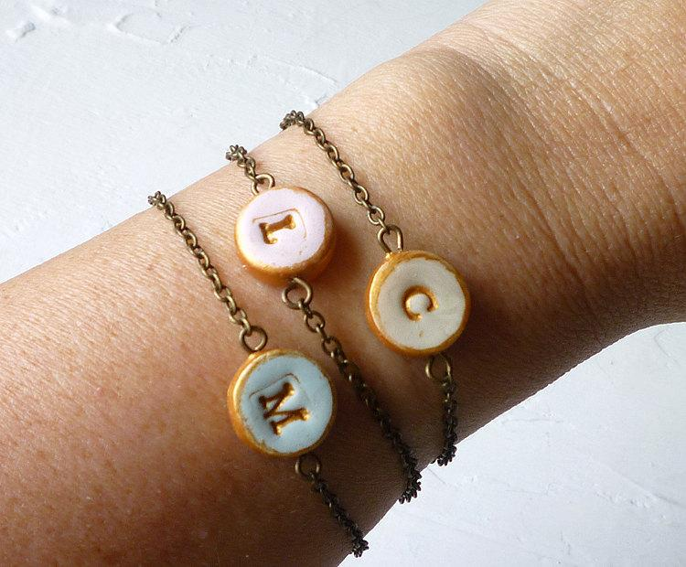 Mariage - Letter Bracelet  - Petite Bracelet - Girl Bracelet - Dainty personalized bracelet