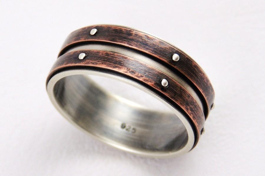 Свадьба - Unique wedding band ring - silver copper ring,mens ring,engagement ring,anniversary ring,rustic ring,promise ring,mens wedding ring