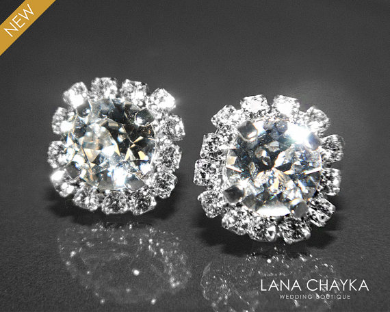 Cubic Zirconia Halo Earrings Wedding Crystal Silver Ear Studs Hypoallergenic Bridal Bridesmaid