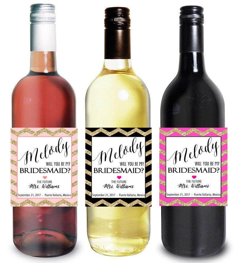 custom bridesmaid proposal gift bridesmaid wine bottle label