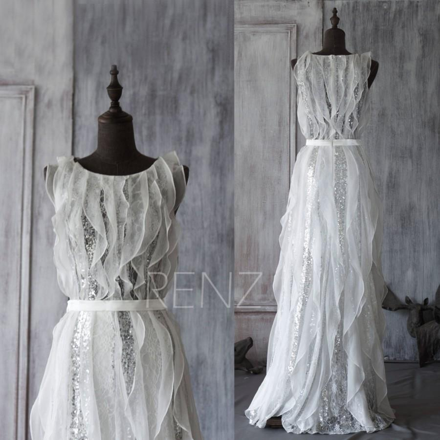 Wedding - White, Ruffles, Sequins Bridesmaid, Wedding, Party, Formal, Party Dress (GW016)