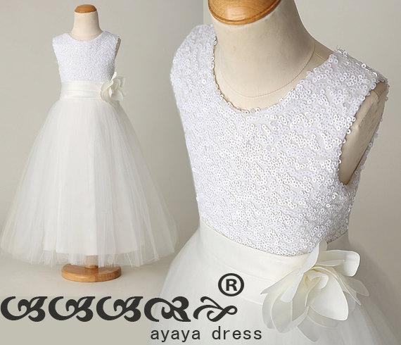 زفاف - white Sequins Flower girl dress , junior bridesmaid dress, Beading Tulle Satin  Lined Girl Dress,party dress,Custom flower girl dress.FL003