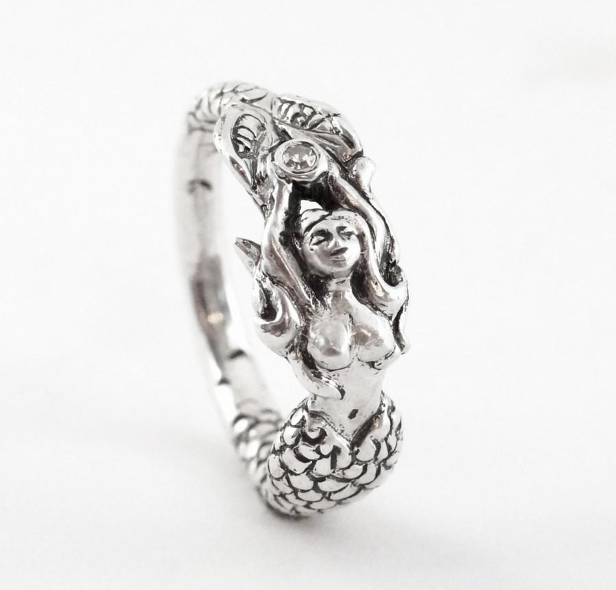 mermaid handmade sterling engagement ring with a
