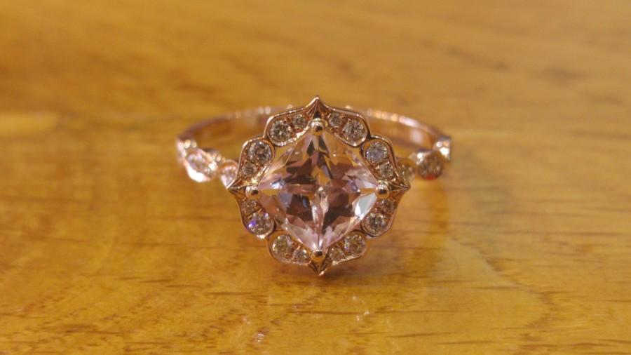 زفاف - Morganite Engagement Ring, Rose Gold Ring, Halo Diamond Ring, Leaves Engagement Ring, Leaf Ring, Micro Pave Engagement Ring