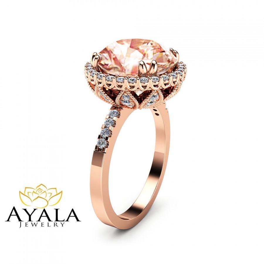 Wedding - Unique 5.6CT Morganite Engagement Ring 14K Rose Gold Morganite Ring Halo Diamond Engagement Ring