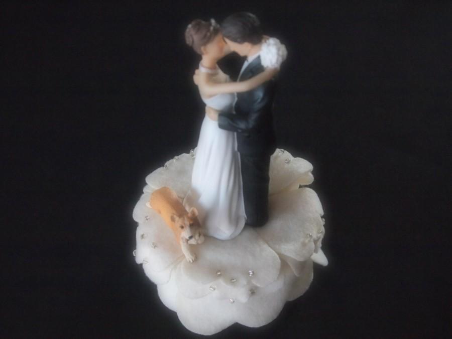 Wedding - Cake Topper Wedding Ivory Bride Groom Corgi Dog