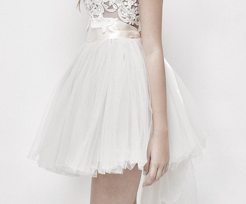 زفاف - Tulle Wedding Skirt Tutu with Satin Ribbon