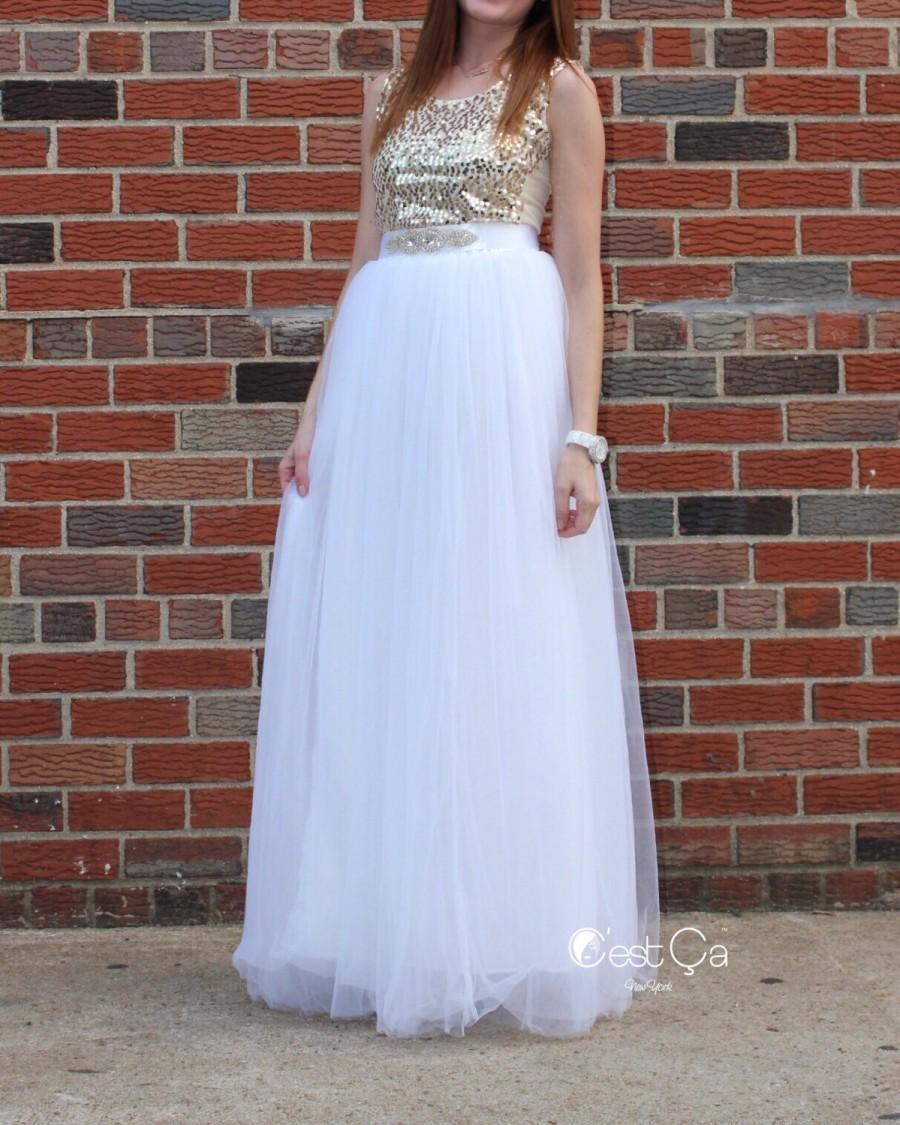 زفاف - Claire - Wedding Tulle Skirt, Maxi White Tulle Skirt, Bridal Tulle Skirt, Floor Length Tulle Skirt, Bridesmaids Skirt, Wholesale
