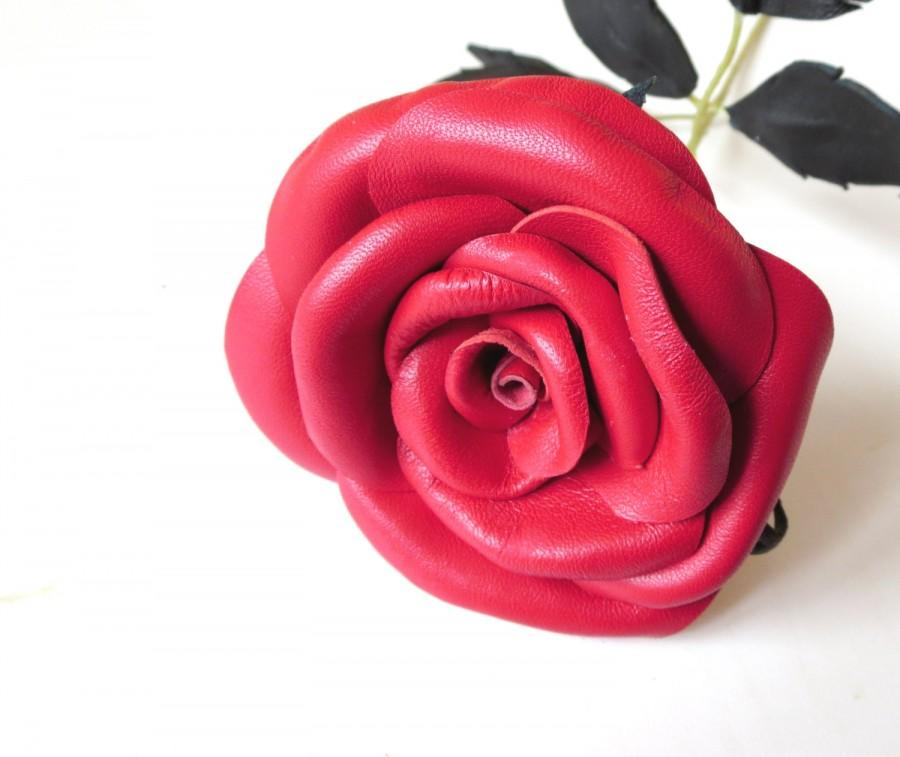 Mariage - Long Stem red rose-symbol of love -Leather rose -Red flower- Wedding- 3rd Anniversary- Gift -Sexy Flower Valentines Day