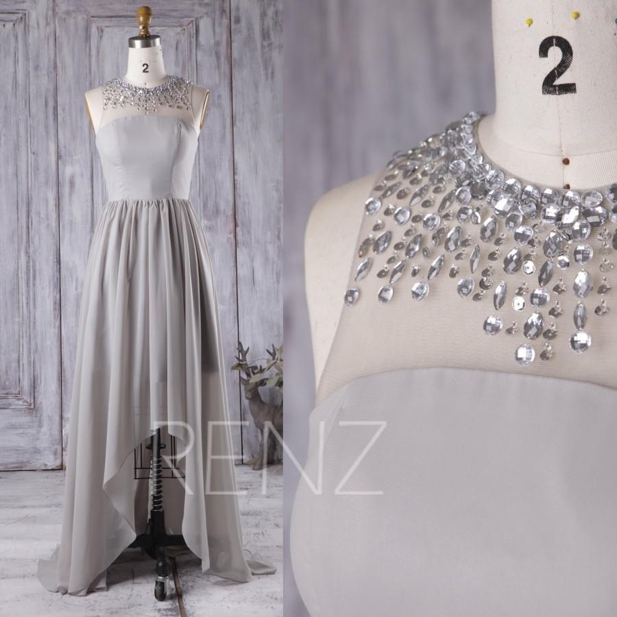 زفاف - 2016 Light Gray Bridesmaid Dress, Beading Mesh Illusion Wedding Dress, High Low Prom Dress, Long Chiffon Cocktail Dress Floor Length (X066)