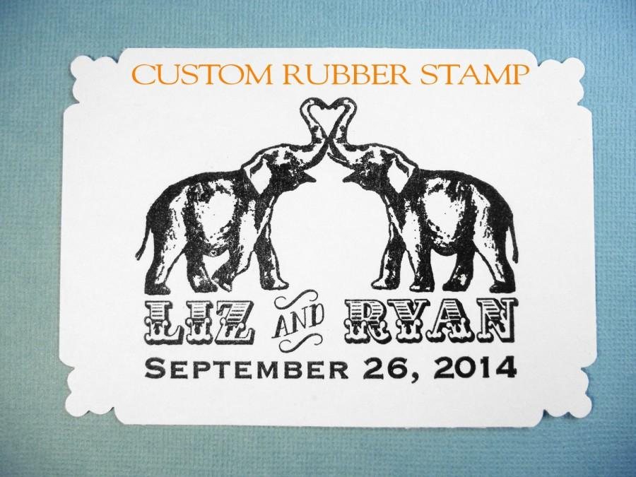 Mariage - Elephant Save the Date Wedding Rubber Stamp // Elephant Circus Theme // Handmade by Blossom Stamps