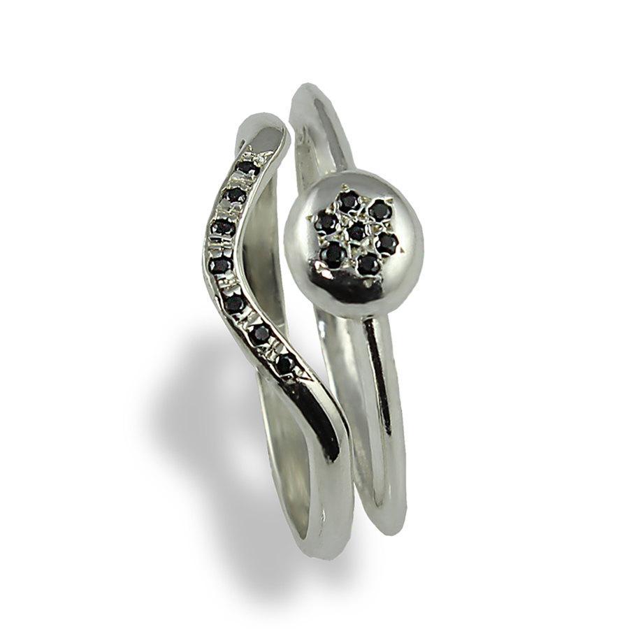 Wedding Ring Set Black Diamonds White Gold Alternative